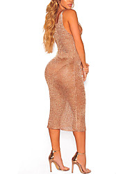 cheap -Women's Beach Bodycon Dress - Solid, Mesh Criss-Cross High Rise Deep V