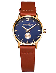 Women's Brand Watch Wrist watch Casual Watch Blue Dial Japanese Quartz Japanese Quartz Water Resistant / Water Proof Brown Genuine Leather Strap