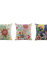 cheap -3 pcs High Quality Linen Pillow Case Bed Pillow Body Pillow Travel Pillow Sofa CushionFloral Graphic PrintsTropical Accent/Decorative Outdoor