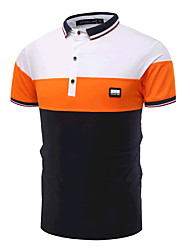 cheap -Men's Active Cotton Slim Polo - Color Block Black & White Shirt Collar