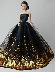 tanie Ubranka dla lalek Barbie-Impreza/Wieczór Sukienki Dla Lalka Barbie Organza Cekin Ubierać Dla Dziewczyny Lalka Zabawka