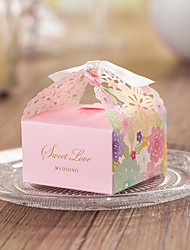 cheap -Cubic Card Paper Favor Holder with Ribbons Favor Boxes - 12