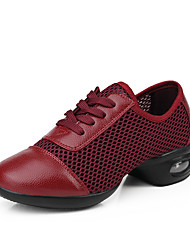 cheap -Women's Dance Shoes Leather Synthetic Dance Sneakers Sneakers Low Heel Performance Drak Red Black White