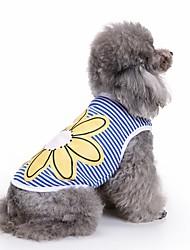 Недорогие -Кошка Собака Футболка Жилет Одежда для собак Цветы Синий Хлопок Костюм Для домашних животных Муж. Жен. Очаровательный На каждый день Мода