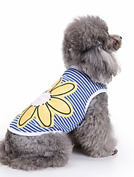 cheap -Cat Dog Shirt / T-Shirt Vest Dog Clothes Flower Blue Cotton Costume For Pets Men's Women's Cute Casual/Daily Fashion