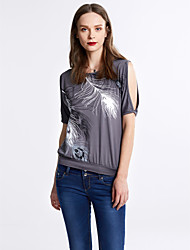 Women's Off The Shoulder Print Off-The-Shoulder All Match Hollow Out T-shirt,Round Neck Batwing Sleeve Short Sleeve