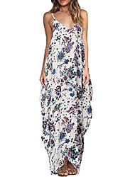 Недорогие -Для женщин Простое Свободный силуэт Платье Цветочный принт,Вырез под горло Макси Без рукавов Полиэстер Лето Со стандартной талией