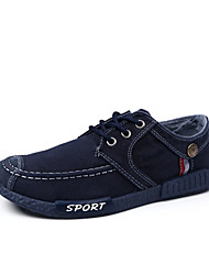 Men's Sneakers Spring Summer Comfort Light Soles Denim Outdoor Casual Flat Heel Lace-up Blue Dark Grey Walking Shoes