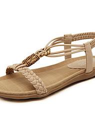 Недорогие -Жен. Обувь Микроволокно Весна / Лето Удобная обувь Сандалии Для прогулок На плоской подошве Круглый носок На эластичной ленте Черный / Миндальный