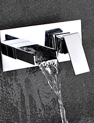cheap -Contemporary Modern Wall Mounted Waterfall Ceramic Valve Two Holes Single Handle Two Holes Chrome , Bathroom Sink Faucet