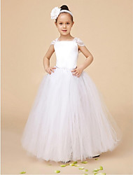 cheap -Ball Gown Ankle Length Flower Girl Dress - Organza Short Sleeves Bateau Neck by YDN