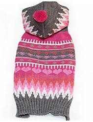 Cane Maglioni Abbigliamento per cani Setoso Cotone Inverno Casual Di tendenza Geometrico Fucsia Costume Per animali domestici