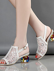 cheap -Women's Shoes Tulle Microfibre Summer Fall Comfort Novelty Club Shoes Sandals Skiing Shoes Chunky Heel Peep Toe Buckle Crystal Heel for