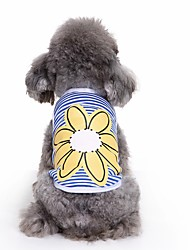 cheap -Cat Dog Shirt / T-Shirt Vest Dog Clothes Cute Casual/Daily Fashion Flower Blue Costume For Pets