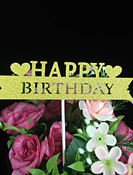 cheap -Cake Topper Classic Theme Card Paper Birthday Baby Shower Quinceañera & Sweet Sixteen With Heart Design Carved Design OPP