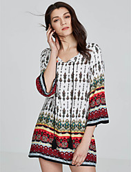 cheap -Women's Going out Active Cotton Shift Dress Print V Neck