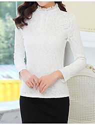cheap -Women's Daily Casual Blouse,Solid Stand Long Sleeves Cotton Thick