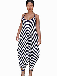 cheap -Women's Daily Casual Striped Strap Jumpsuits,Wide Leg Sleeveless Summer