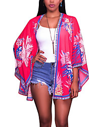 Women's Floral Patterns Casual/Daily Beach Holiday Sexy Vintage Boho All Match Spring Summer BlouseFloral Color Block Cowl Long Sleeve Medium
