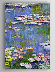 cheap -Hand-Painted  Waterlilies by Monet Oil Painting With Stretcher For Home Decoration Ready to Hang
