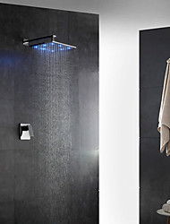 Contemporary Art Deco/Retro Modern Wall Mounted LED Thermostatic Rain Shower with  Brass Valve Single Handle Two Holes for  Chrome ,