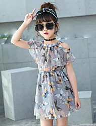 Girl's Daily Beach Holiday Floral Dress,Cotton Summer Sleeveless Floral Gray