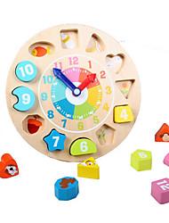 economico -Giocattoli di matematica Orologio giocattolo in legno Giocattoli Circolare Per bambini 1 Pezzi