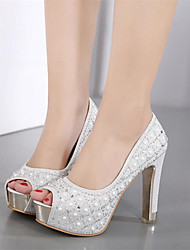 cheap -Women's Shoes Leatherette Spring / Summer Novelty / Club Shoes Heels Chunky Heel Round Toe / Peep Toe Rhinestone Black / Silver / Wedding