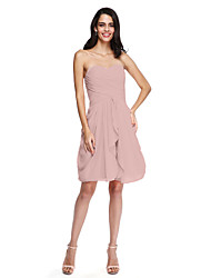 cheap -Sheath / Column Sweetheart Knee Length Chiffon Bridesmaid Dress with Criss Cross Ruching by LAN TING BRIDE®