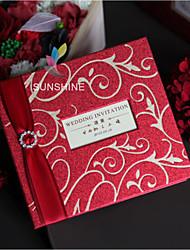 Folded Wedding Invitations Invitation Cards Vintage Style Modern Style Pearl Paper Ribbon Bow Rhinestones Crystals/Rhinestones