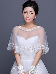 abordables -Wrap de mariage de coton avec des capelets appliques style élégant