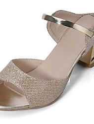 Feminino Sandálias Conforto Couro Camurça Verão Casual Caminhada Conforto Lantejoulas Salto Baixo Dourado Prata 5 a 7 cm