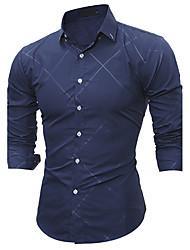 Men's All Seasons Fashion Classical Big Plaid Slim Fit Long Sleeve Casual Shirt/ Cotton /Polyester/Work