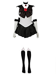 cheap -Inspired by Sailor Moon Sailor Pluto  Meiou Setsuna Anime Cosplay Costumes Cosplay Suits Patchwork White / Black Sleeveless Dress Gloves / Bow