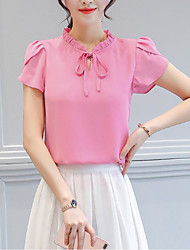 Women's Chiffon Short Ruffle Sleeve T Shirt Drawstring Petal O Neck Blouse