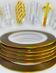 100pcs / box 1mm 20m mode ongle art diy beauté laser or brillant feuille feuille striping ruban ligne ligne arc-en-ciel décoration