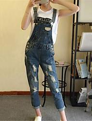 economico -Da donna A vita medio-alta Moda città Anelastico Jeans Tuta da lavoro Pantaloni Cotone Estate