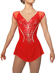 cheap -Figure Skating Dress Women's Girls' Ice Skating Dress Red Rhinestone Sequined High Elasticity Performance Practise Leisure Sports Skating