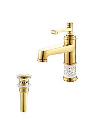 cheap -Antique Art Deco/Retro Modern Vessel Widespread Ceramic Valve Single Handle One Hole Ti-PVD, Bathroom Sink Faucet