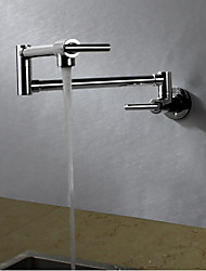 Contemporary Art Deco/Retro Modern Pot Filler Standard Spout Tall/­High Arc Wall Mounted Rain Shower Rotatable Thermostatic Brass Valve