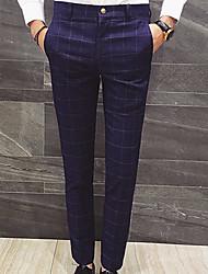 Da uomo A vita alta Semplice Anelastico Lavoro Pantaloni,Taglia piccola A quadri