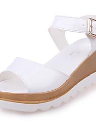 Feminino Sandálias Conforto Couro Ecológico Verão Casual Caminhada Conforto Combinação Salto Baixo Branco Preto Azul 7,5 a 9,5 cm