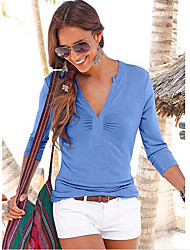 cheap -Women's Daily Sexy Summer Shirt,Solid V Neck Long Sleeves Silk Sheer