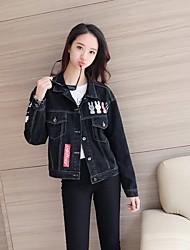 Women's Going out Street chic Fall Winter Denim Jacket,Letter Print Shirt Collar Long Sleeve Regular Cotton