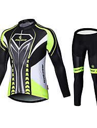 cheap -Malciklo Men's Long Sleeves Cycling Jersey with Tights British Bike Bib Tights Jersey Clothing Suits, 3D Pad, Quick Dry, Breathable Lycra