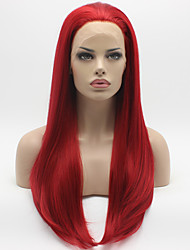 cheap -Heat Resistant Synthetic Lace Front Wigs Silky Straight Hair Red Color Fiber Hair Wig for Woman