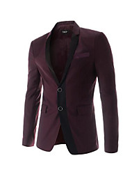 Men's Going out Vintage Spring Blazer,Color Block Shirt Collar Long Sleeve Short Cotton