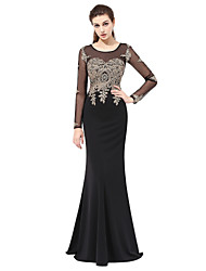 cheap -Mermaid / Trumpet Illusion Neckline Floor Length Lace Formal Evening Dress with Appliques by Sarahbridal