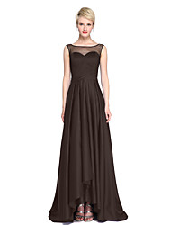 cheap -A-Line Jewel Neck Asymmetrical Satin Bridesmaid Dress with Bow(s) Sash / Ribbon Pleats by LAN TING BRIDE®