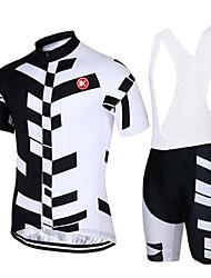 abordables -KEIYUEM Manches Courtes Maillot et Cuissard à Bretelles de Cyclisme - Blanc Vélo Ensemble de Vêtements, Séchage rapide, Respirable,